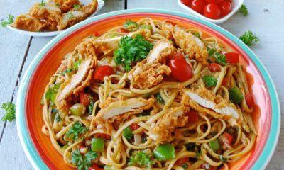 crispy chicken creamy pasta