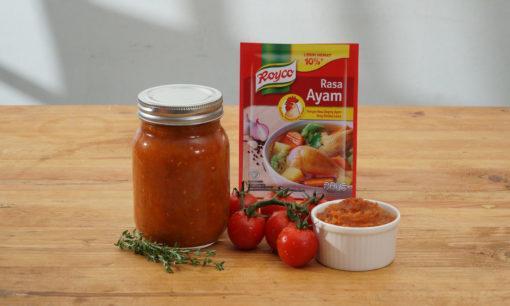Cara membuat saus tomat selesai dan saus bisa disajikan.