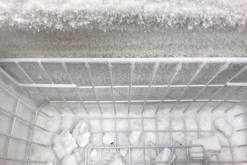 Cara membersihkan kulkas dengan bunga es.