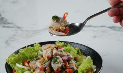 Resep salad sayur dipadukan dengan gohu ikan.