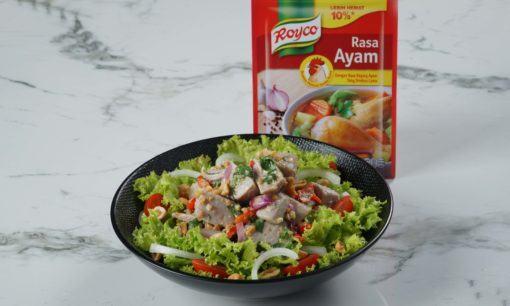 Plating resep salad sayur gohu ikan.