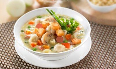 Sup krim ayam makaroni lezat untuk sarapan