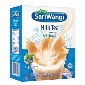 Satu kotak kemasan SariWangi Milk Tea Teh Tarik.