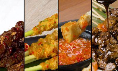 Empat resep sate berbeda bersandingan dalam bentuk kolase.