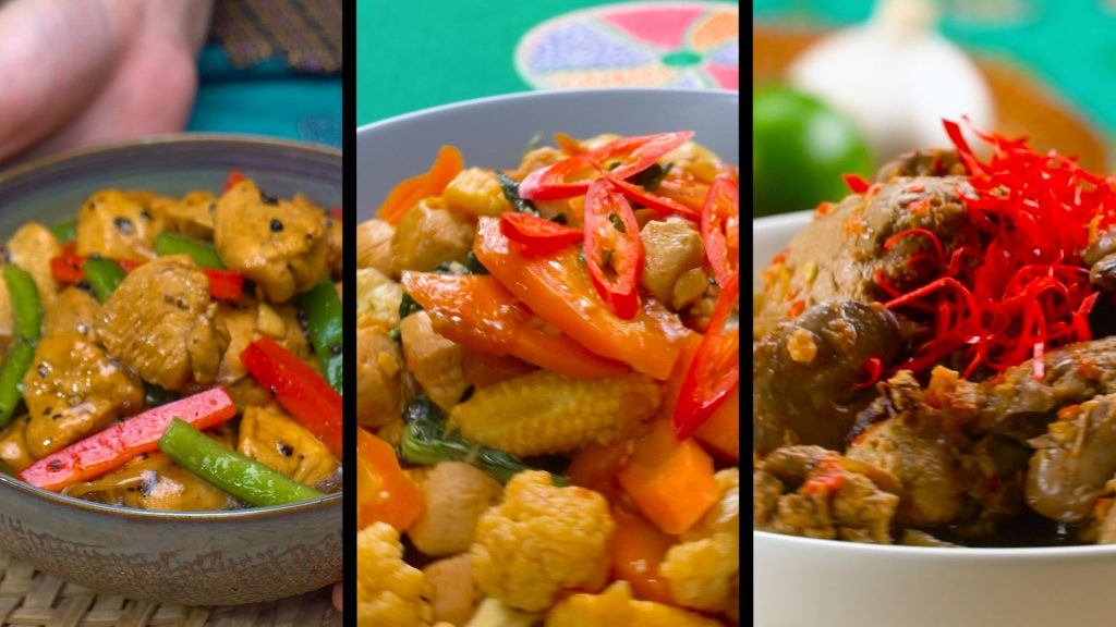 Kolasi foto menu makanan sehari-hari.