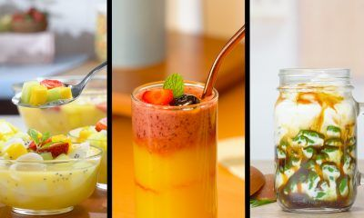Tiga resep minuman segar bersanding satu sama lain.