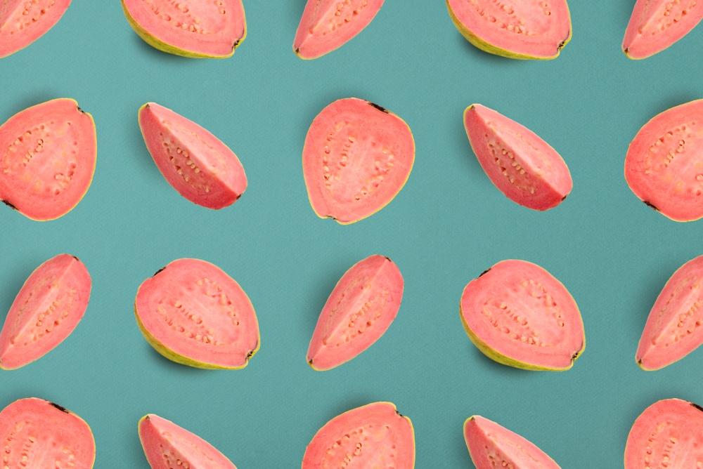Vector art berupa potongan jambu klutuk.