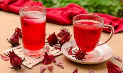 Dua gelas kaca berisi hasil membuat resep es teh rosella dengan bunga rosella kering di bawahnya